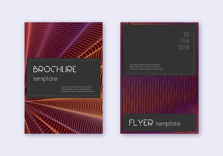 Black cover design template set. Orange abstract lines on wine red background. Admirable cover design. Sublime catalog, poster, book template etc. Illusztráció