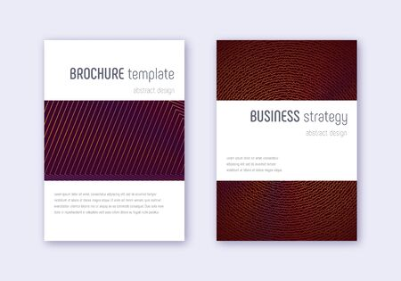 Minimalistic cover design template set. Orange abstract lines on wine red background. Enchanting cover design. Ravishing catalog, poster, book template etc.