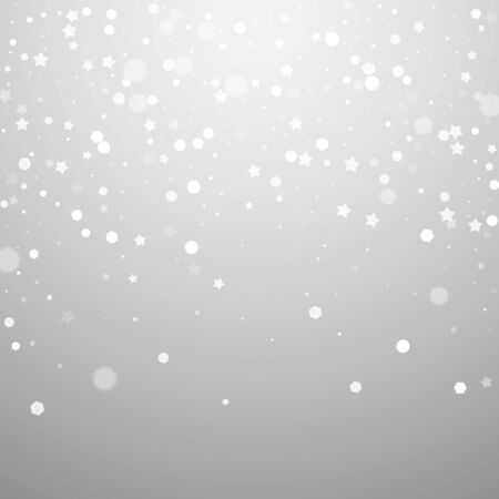 Magic stars random Christmas background. Subtle flying snow flakes and stars on light grey background. Bizarre winter silver snowflake overlay template. Breathtaking vector illustration.