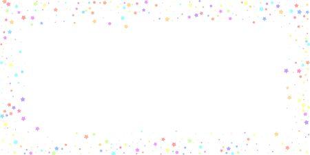 Festive confetti. Celebration stars. Colorful stars random on white background. Delightful festive overlay template. Favorable vector illustration.