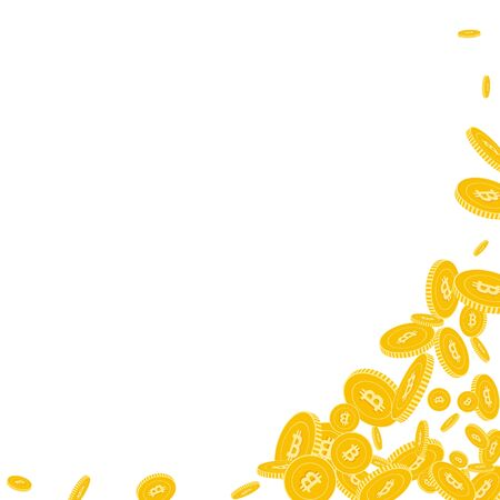 Bitcoin, internet currency coins falling. Scattered floating BTC coins on white background. Ecstatic abstract right bottom corner vector illustration. Jackpot or success concept.