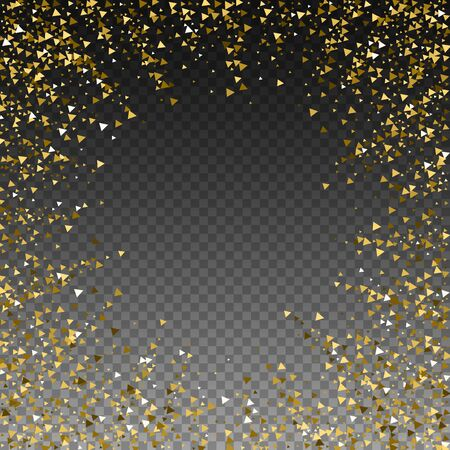 Gold triangles luxury sparkling confetti. Scattered small gold particles on transparent background. Appealing festive overlay template. Ideal vector illustration. Çizim