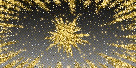 Sparkling gold luxury sparkling confetti. Scattered small gold particles on trasparent background. Alive festive overlay template. Bewitching vector illustration.