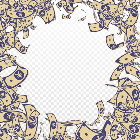 Chinese yuan notes falling. Messy CNY bills on transparent background. China money. Ecstatic vector illustration. Awesome jackpot, wealth or success concept.