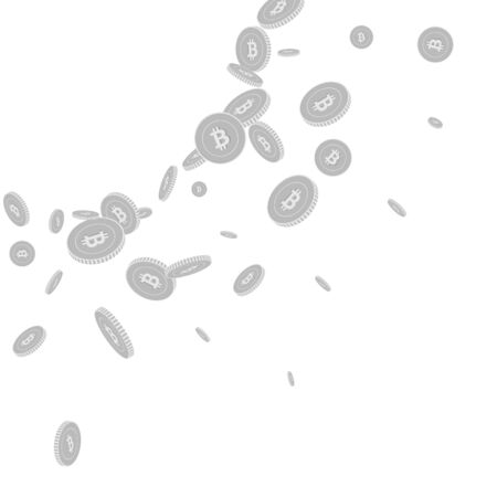 Bitcoin, internet currency coins falling. Scattered black and white BTC disorderly coins. Jackpot or success concept. Emotional radiant left top corner vector illustration.