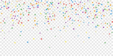 Festive confetti. Celebration stars. Joyous stars on transparent background. Cute festive overlay template. Unusual vector illustration.