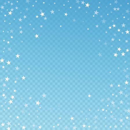 Random falling stars Christmas background. Subtle flying snow flakes and stars on blue transparent background. Amazing winter silver snowflake overlay template. Symmetrical vector illustration.