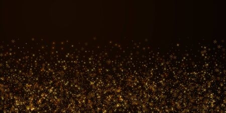 Beautiful starry snow Christmas overlay. Christmas lights, bokeh, snow flakes, stars on night background. Luxury actual sparkling overlay template. Powerful vector illustration.