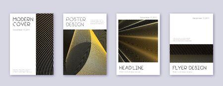 Minimal brochure design template set. Gold abstract lines on black background. Appealing brochure design. Bizarre catalog, poster, book template etc. Vector Illustratie