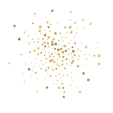 Sparse gold confetti luxury sparkling confetti. Scattered small gold particles on white background. Actual festive overlay template. Shapely vector illustration. Illusztráció