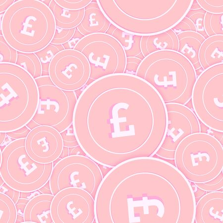 British pound copper coins seamless pattern. Extra scattered pink GBP coins. Success concept. United Kingdom money pattern. Coin vector illustration.
