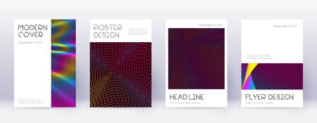 Minimal brochure design template set. Rainbow abstract lines on wine red background. Artistic brochure design. Fabulous catalog, poster, book template etc.