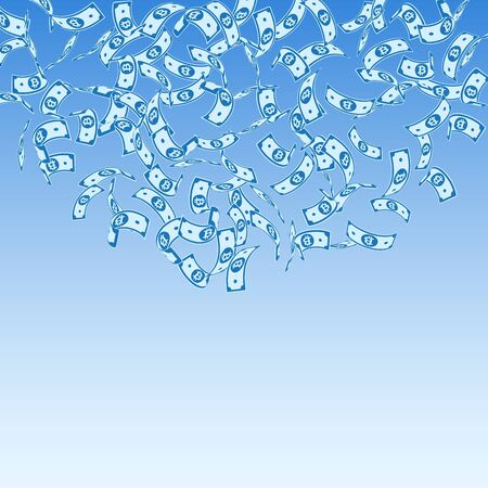 Bitcoin, internet currency notes falling. Sparse BTC bills on blue sky background. Cryptocurrency, digital money. Alive vector illustration. Splendid jackpot, wealth or success concept.