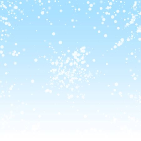 Beautiful falling snow Christmas background. Subtle flying snow flakes and stars on winter sky background. Authentic winter silver snowflake overlay template. Fabulous vector illustration.
