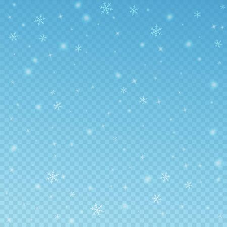 Sparse glowing snow Christmas background. Subtle flying snow flakes and stars on blue transparent background. Alive winter silver snowflake overlay template. Fantastic vector illustration.