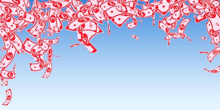 British pound notes falling. Messy GBP bills on blue sky background. United Kingdom money. Beauteous vector illustration. Glamorous jackpot, wealth or success concept.