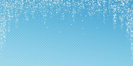 Random white dots Christmas background. Subtle flying snow flakes and stars on blue transparent background. Attractive winter silver snowflake overlay template. Tempting vector illustration.