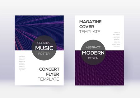 Modern cover design template set. Violet abstract lines on dark background. Exquisite cover design. Posh catalog, poster, book template etc. Illustration