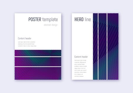 Geometric cover design template set. Neon abstract lines on dark blue background. Bewitching cover design. Fine catalog, poster, book template etc. Illustration