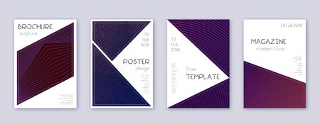 Triangle brochure design template set. Violet abstract lines on dark background. Breathtaking brochure design. Worthy catalog, poster, book template etc.