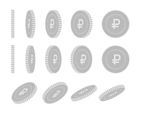Russian ruble rotating coins set, animation ready. Black and white RUB silver coins rotation. Russia metal money. Quaint cartoon vector illustration. Illustration