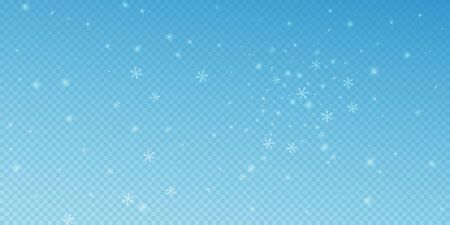 Sparse glowing snow Christmas background. Subtle flying snow flakes and stars on blue transparent background. Astonishing winter silver snowflake overlay template. Exquisite vector illustration.