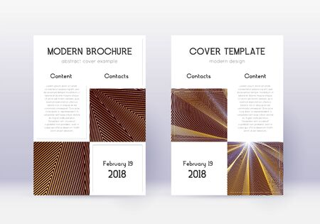 Business cover design template set. Gold abstract lines on maroon background. Appealing cover design. Neat catalog, poster, book template etc. Ilustração