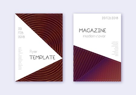 Triangle cover design template set. Orange abstract lines on wine red background. Incredible cover design. Ecstatic catalog, poster, book template etc.