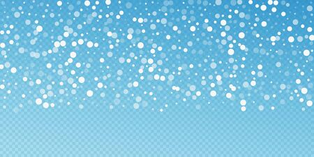 Priorità bassa di natale dei puntini bianchi. Sottili fiocchi di neve volanti e stelle su sfondo blu trasparente. Bellissimo modello di sovrapposizione fiocco di neve d'argento invernale. Deliziosa illustrazione vettoriale.
