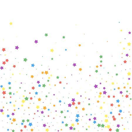 Confeti festivo. Estrellas de celebración. Estrellas alegres sobre fondo blanco. Encantadora plantilla de superposición festiva. Ilustración de vector lindo.