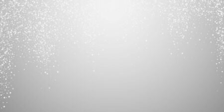 Amazing falling stars Christmas background. Subtle flying snow flakes and stars on light grey background. Awesome winter silver snowflake overlay template. Fair vector illustration.