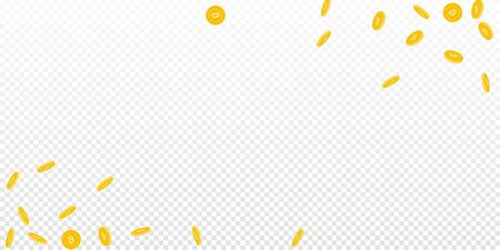 Bitcoin, internet currency coins falling. Scattered sparse BTC coins on transparent background. Alive wide corners vector illustration. Jackpot or success concept.