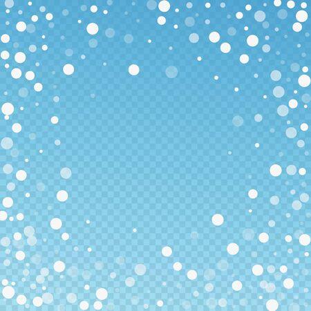 Fond de Noël de points blancs. Flocons de neige volants subtils et étoiles sur fond bleu transparent. Modèle de superposition de flocon de neige argenté d'hiver amusant. Illustration vectorielle élégante.