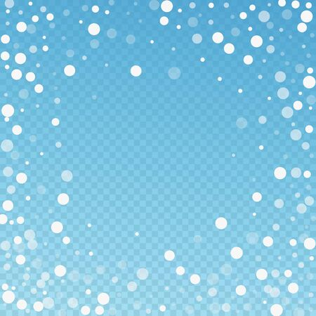 White dots Christmas background. Subtle flying snow flakes and stars on blue transparent background. Amusing winter silver snowflake overlay template. Elegant vector illustration.