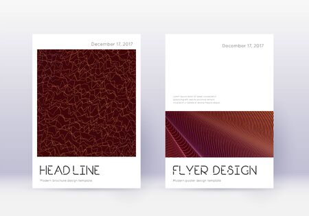 Minimal cover design template set. Orange abstract lines on wine red background. Divine cover design. Bewitching catalog, poster, book template etc.