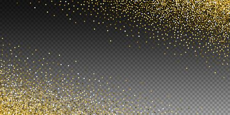 Round gold glitter luxury sparkling confetti. Scattered small gold particles on transparent background. Astonishing festive overlay template. Powerful vector illustration.