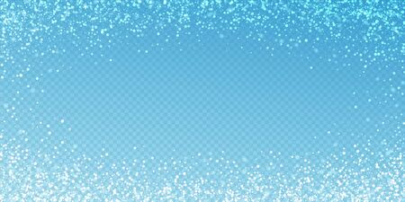 Magic stars sparse Christmas background. Subtle flying snow flakes and stars on transparent blue background. Alive winter silver snowflake overlay template. Popular vector illustration.