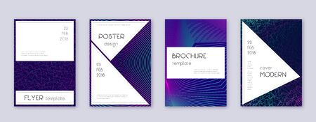 Stylish brochure design template set. Neon abstract lines on dark blue background. Beautiful brochure design. Immaculate catalog, poster, book template etc. Ilustracja