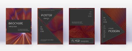 Black brochure design template set. Orange abstract lines on wine red background. Actual brochure design. Sightly catalog, poster, book template etc.