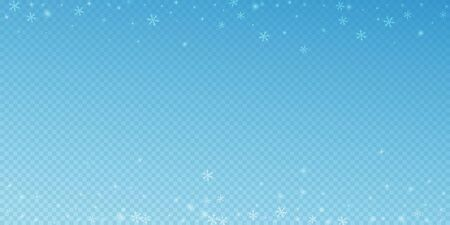 Sparse glowing snow Christmas background. Subtle flying snow flakes and stars on blue transparent background. Amusing winter silver snowflake overlay template. Uncommon vector illustration. Ilustracja