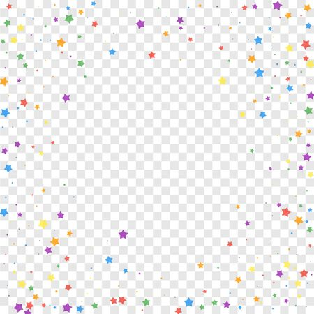 Festive confetti. Celebration stars. Joyous stars on transparent background. Cool festive overlay template. Attractive vector illustration.