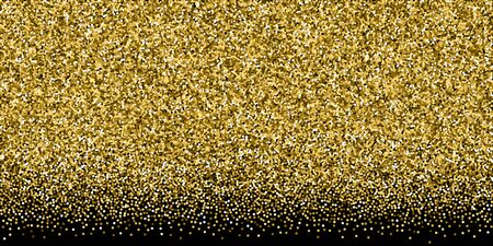 Round gold glitter luxury sparkling confetti. Scattered small gold particles on black background. Breathtaking festive overlay template. Vibrant vector illustration.