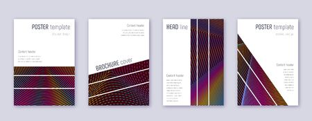 Geometric brochure design template set. Rainbow abstract lines on wine red background. Alluring brochure design. Perfect catalog, poster, book template etc.