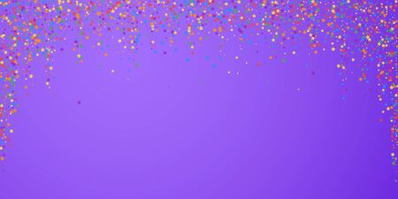 Festive confetti. Celebration stars. Rainbow bright stars on bright purple background. Dazzling festive overlay template. Unique vector illustration. Ilustracja