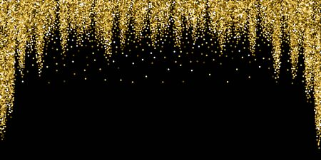 Round gold glitter luxury sparkling confetti. Scattered small gold particles on black background. Beauteous festive overlay template. Unequaled vector illustration. Ilustracja