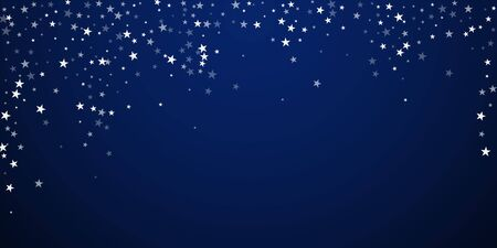 Random falling stars Christmas background. Subtle flying snow flakes and stars on dark blue night background. Awesome winter silver snowflake overlay template. Graceful vector illustration. Ilustracja