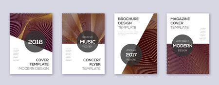 Modern brochure design template set. Gold abstract lines on bordo background. Awesome brochure design. Eminent catalog, poster, book template etc.