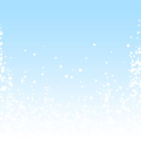 Beautiful falling snow Christmas background. Subtle flying snow flakes and stars on winter sky background. Authentic winter silver snowflake overlay template. Stunning vector illustration. Ilustracja