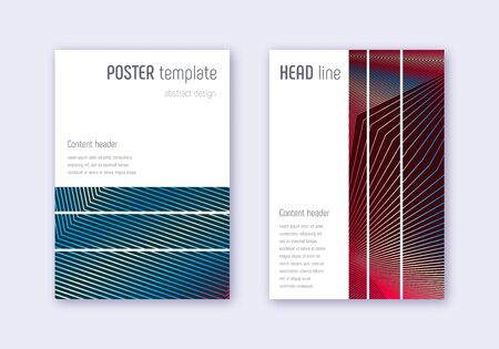 Geometric cover design template set. Red white blue abstract lines on dark background. Bizarre cover design. Stylish catalog, poster, book template etc.