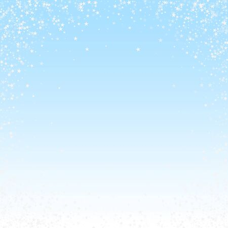 Amazing falling stars Christmas background. Subtle flying snow flakes and stars on winter sky background. Beauteous winter silver snowflake overlay template. Decent vector illustration.